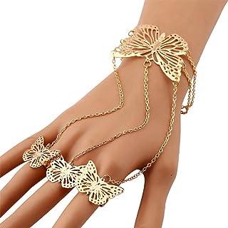 YERTTER Women Butterfly Hand Chain Bracelet Butterfly Finger Bracelet Finger Chain Rings Hand Jewelry for Teen Girls (Silver)