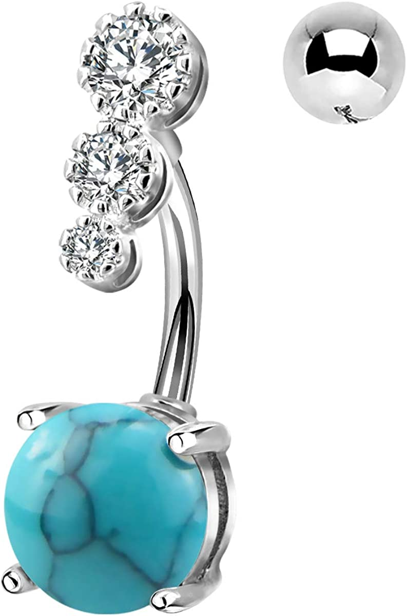 CM Crareesi Mania Women Boho Belly Rings Turquoise Stone Curved Barbell Belly Rings Piercing Jewelry