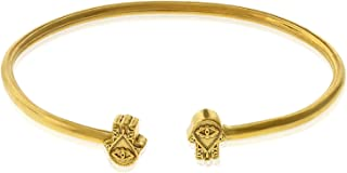 Alex and Ani Women's Hand of Fatima Cuff Bracelet, 14kt Gold Plated, Expandable