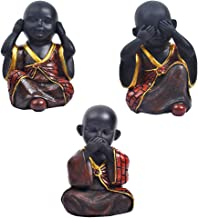 Flameer 3pack Buddha Statue Figurine with Rustic Color Finished, Chinese Style Statue, Good Luck Ornaments-Red