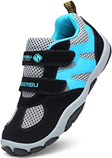 DADAWEN Kid's Breathable Outdoor Hiking Sneakers Strap Athletic Running Shoes Multi Size: 2 Little Kid Black/Blue