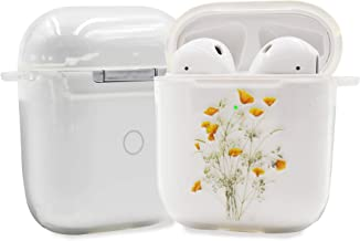 Clear AirPods Case, TPU AirPod Case Cover for Apple AirPods 2&1 Charging Case, Cute Yellow Flower and Grass AirPods Soft Protective Case with Carabiner for Girls Teenages