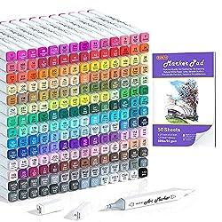 top 10 shuttle art markers 2 Shuttle Art 205 Double Chip Color Alcohol Marker, 204 Color Permanent Marker Plus 1 Mixer 1…