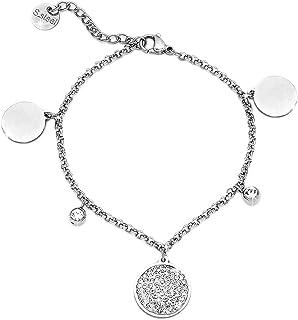 Beloved Braccialetto donna con cristalli in acciaio - bracciale charms con 5 ciondoli pendenti - con catena e charm a tema incastonati - misura regolabile