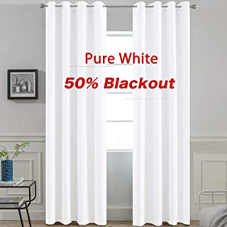 Yakamok Pure White Room Darkening Thermal Insulated Curtains, Light Blocking Blackout Drapes for Living Room, 2 tie Backs Included(52Wx84L, 2 Panels)