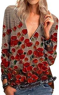 Loyomobak Women Tops Long Sleeve Print V Neck Zip-Up Tee Blouse T Shirts
