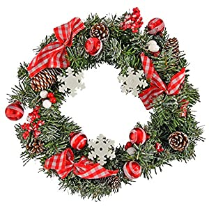 Home-X Front Door Christmas Wreath with Snowflakes, Frosted Pinecones, for Home Wall, Window, Staircase, Door Décor, Outdoor Winter Home Decorations-14""