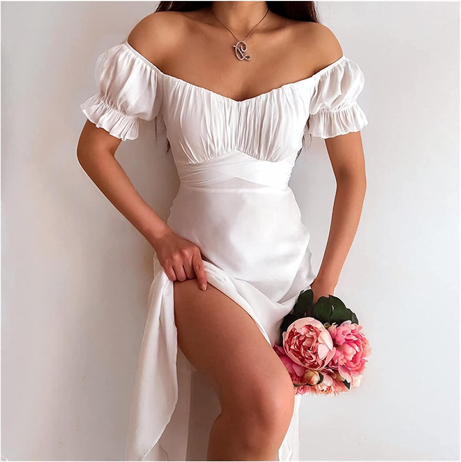 Same Limited price sale day shipping DPIOPTS Dresses Simple Plain Color Off Shoulder Puff One Word Sl
