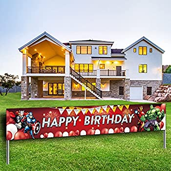 Large Superhero Happy Birthday Banner Hero Themed Birthday Party Sign Big Bday Party Decorations Supplies
