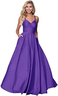 V Neck Prom Dresses Beaded Spaghetti Strap Satin Long Evening Party Gowns with Pockets