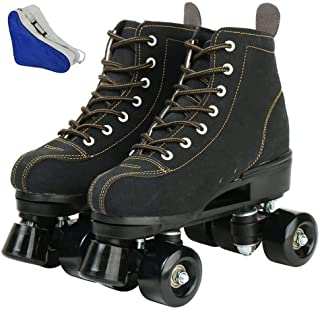 XUDREZ Roller Skates for women and mens, Classic 4 Wheels Skating Roller Leather Double Row Skates for Indoor and Outdoor Unisex, Adult with Bag