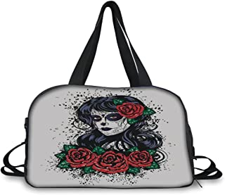 c2d00c8b80a9d iPrint Travelling Bag,Skull,Dead Hair Elegant Sugar Skull Lady with Roses  in Retro
