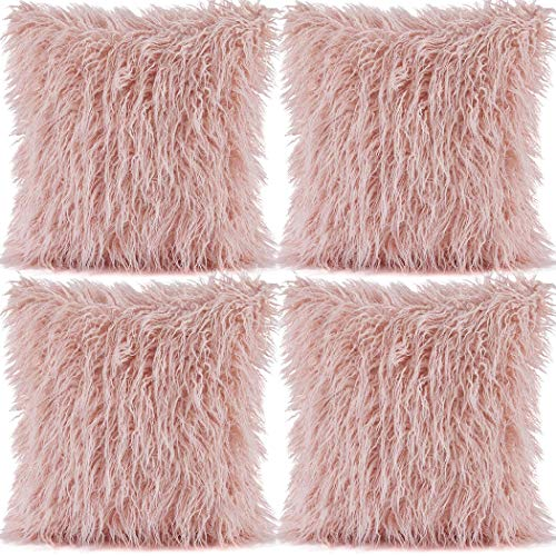 4 Pack Decorative Faux Fur Pillow Covers 18x18 Fluffy Pillow Cushion Cover Square Fuzzy Throw Pillowcase for Home Car Sofa (Pink, 4 Pack-18x18in/45x45cm)