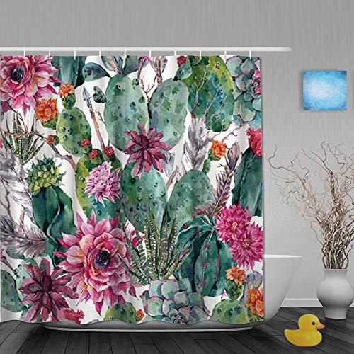 AYISTELU Duschvorhang,Kaktus Frühlingsgarten mit Boho Style Bouquet von dornigen Pflanzen blüht Pfeile Federn,Stoff Badezimmer Dekor Set mit Kunststoffhaken, enthalten - 180x210cm