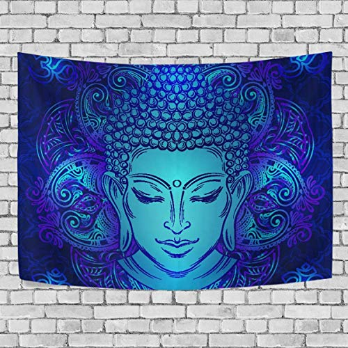 AEMAPE Bud-dha Head with Paisley Ornament Bedroom Tapestry Exclusive Wall Hanging Multi Purpose Backdrop Hangings for Living Room, Doorway and Kitchen. 60x40 inch