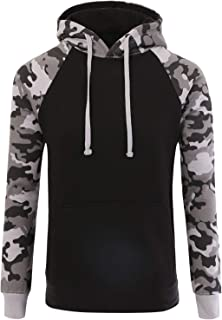 Men's Premium Heavyweight Two-Tone Raglan Pullover Hoodie Sweatshirts