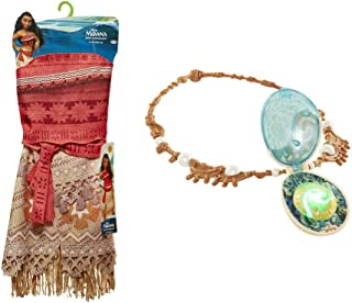 Disney Moana Girls Adventure Outfit, Age: 3+, Size: 4 - 6x andDisney Moana's Magical Seashell Necklace Bundle Toy