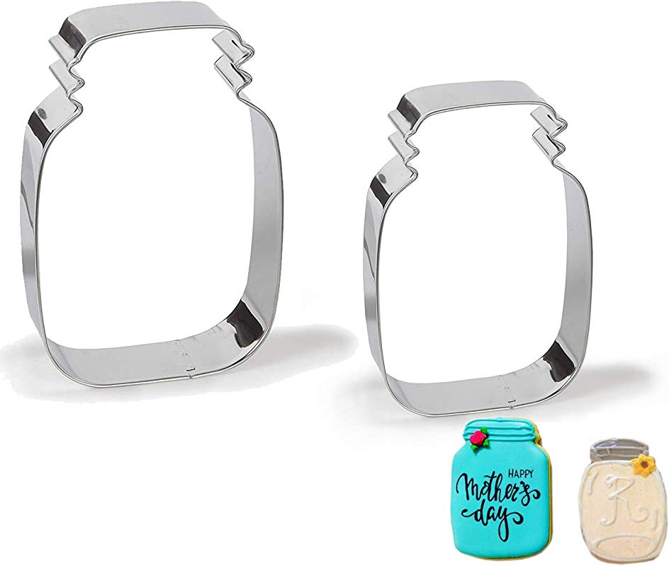 Antallcky Mason Jar Cookie Cutter Set Of 2 Pack 4 7 Inch 3 6 Inch Stainless Steel Marson Jar Shaped Biscuit Molds Fondant Cookie Cutter Set Pastry Mold 1 Inch Depth