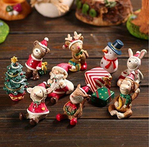 Treasure-House 8 pcs Décorations de Noël – Jettingbuy Lot de accessoires de jardin Féérique miniature, figurine Décor de jardin miniature, Pot de fleurs Micro Paysage