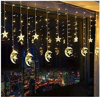 SKEIDO 138 LED Star Curtain String Lights, Window Curtain String Light Moon Star String Light USB Plug for Ramadan Wedding...