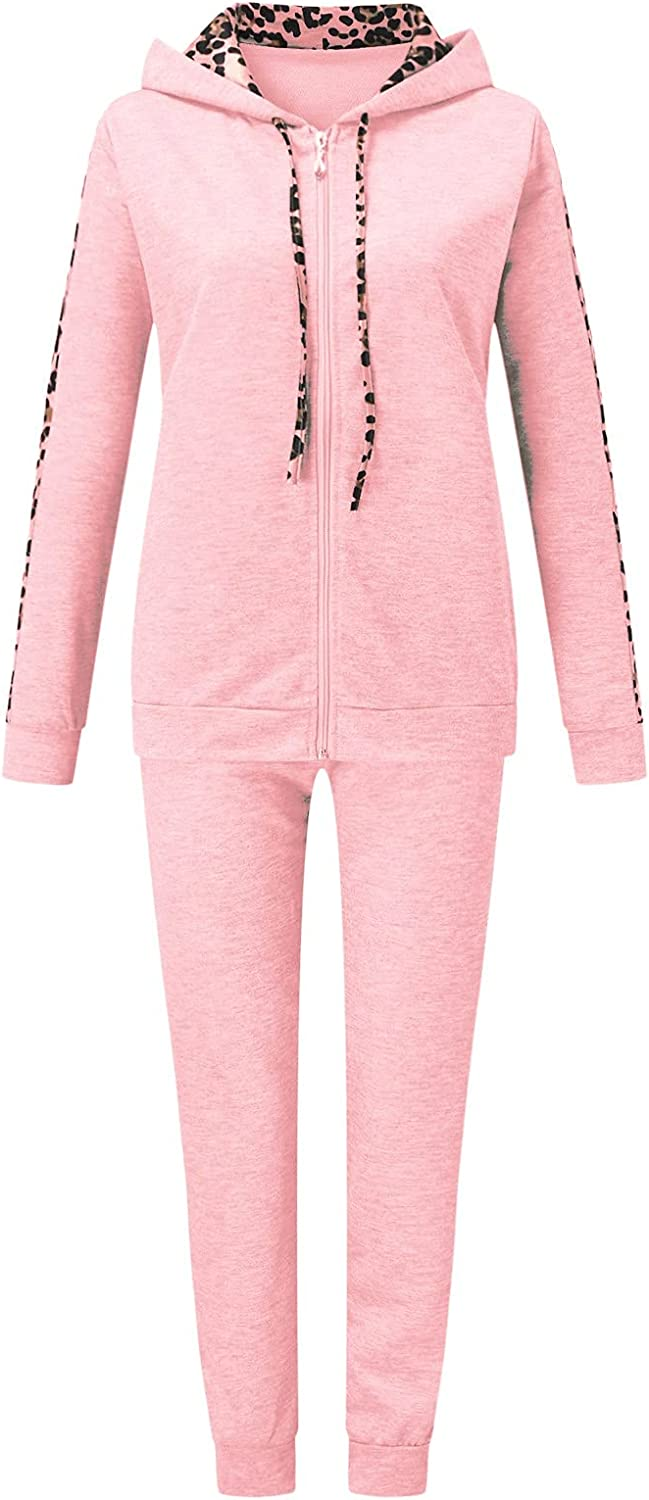 Women's Casual Leopard Printed Sweat Suits Long Sleeve Hooded Sweatshirt and Sweatpants 2 Piece Sports Workout Sets Tracksuit