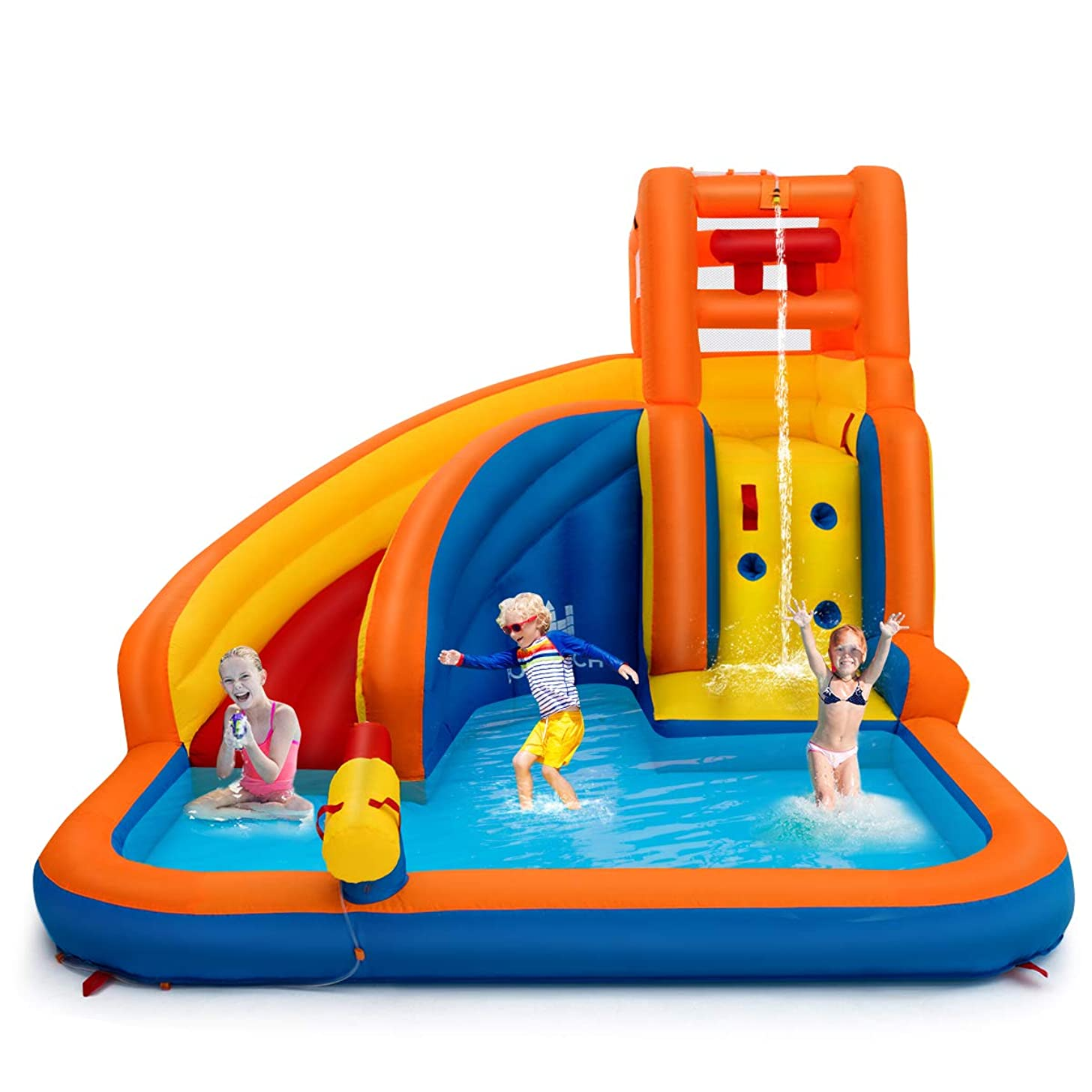 Costzon Inflatable Water Slide, 5-in-1 Kids Bouncer w/ Climbing Wall, Splash Pool, Water Cannon, Pouring Sink, Including Oxford Carry Bag, Repairing Kit, Stakes, Hose (Without Blower)