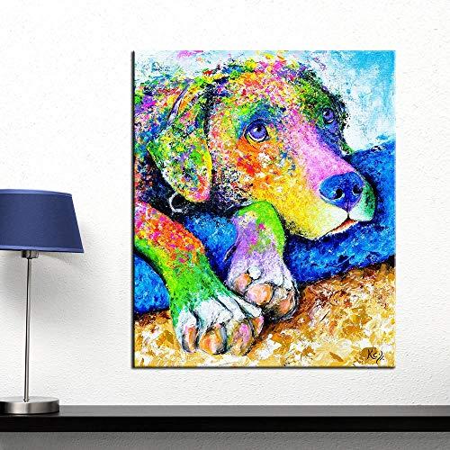 Olieverfschilderij Muurkunst Kleurrijke Hond Muurfoto's voor Woonkamer Dierlijke Poster op Het Doek Geen Frame Posters en Prints Schilderen 20x24