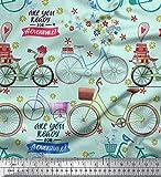 Soimoi Grun Baumwolle Batist Stoff Text, Blumen und Fahrrad