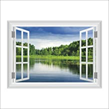 Wall Stickers Wall Art Stickers 3D Three-Dimensional Tranquil Lakeside Wall Sticker Forest Wetland Living Room Tv Background Decorative Painting