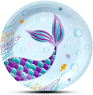 WERNNSAI Mermaid Party Supplies - 50PCS Mermaid Party Picnic Dinner Plates Under The Sea Summer Pool Beach Birthday Party Baby Shower Disposable Tableware