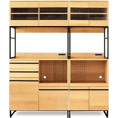 moca company CLOUDEAR キッチンボード 幅150 (幅60 + 幅90 セット) レンジボード 食器棚 大型レンジ対応 スライド コンセント付き ナチュラル