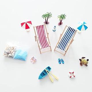 15 Pièces Mini Décorations Plage, Petits Accessoires Décoration Palmier, Ensemble D'Ornements Miniatures pour Bricolage, p...
