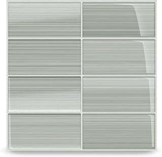 Stratus Perfect Gray Glass Tile. Hand Painted and Custom Made. Perfect for Bathrooms and Kitchens. Color Sample