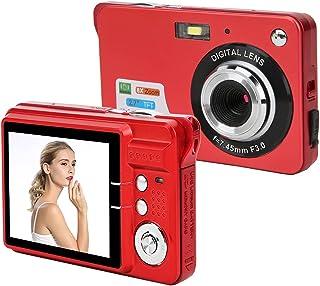 Digitalkamera, 2,7 Zoll 18 Megapixel HD-Kamera, Wiederaufladbare Mini-Kamera TFT-Flüssigkristall-Display-Digitalkamera mit 8-fachem Zoom Kompaktkamera für Anfänger Studenten Pocket-Kamera(rot)