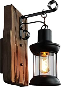 LMSOD Wall Lamp,Industrial Vintage Retro Wooden Metal Wall Light Fixture,Sconces Wall Lighting for The Home/Hotel/Corridor Decorate Wall Lights
