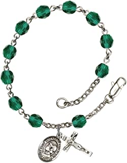 Bonyak Jewelry 18 Inch Rhodium Plated Necklace w// 6mm Blue September Birth Month Stone Beads and Saint Ann Charm