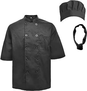 Unisex Short Sleeve Cooking Chef Coat Jacket & Hat & Bandana Set