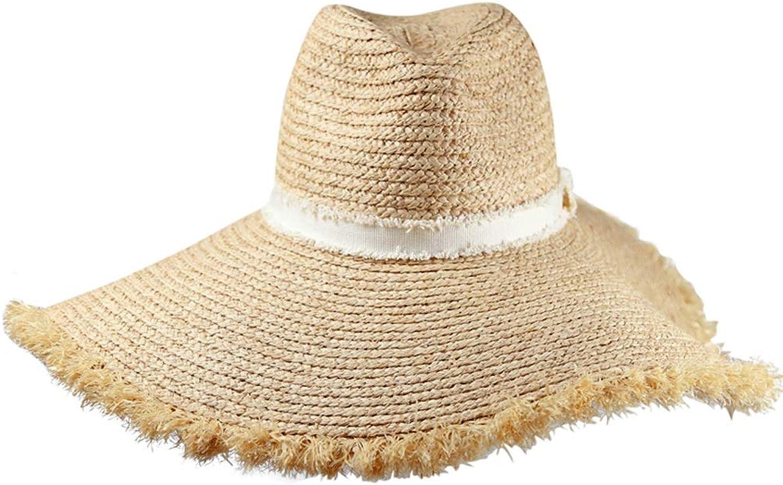 WYGGhat Hat  Women's Summer Straw Hat Beach Holiday UV Predection Sun Visor Fashion Casual Journey Shooting Sun Hat (Light Brown)  &