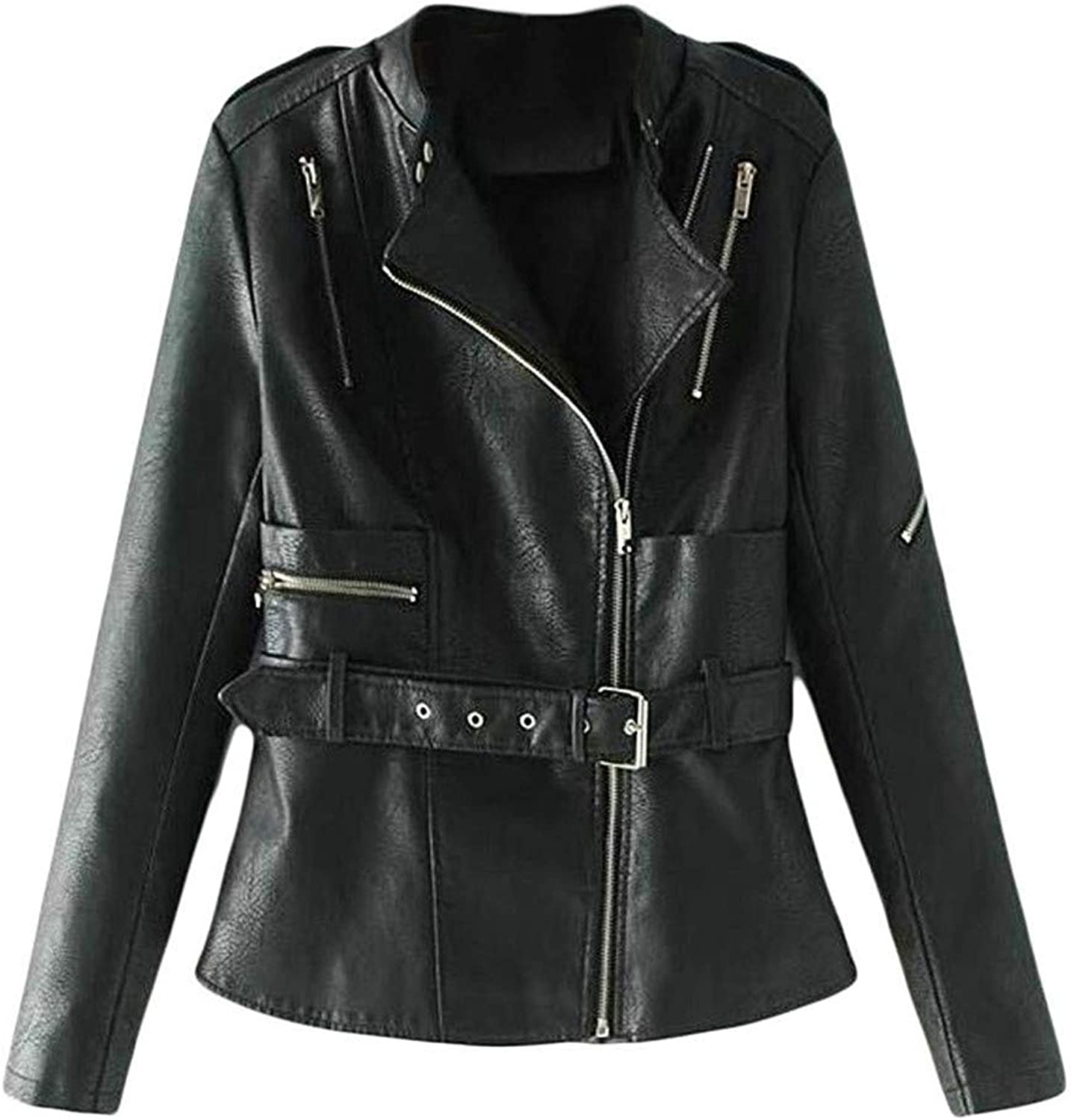 Ssjjsacv Women Clothes Womens Classic Fit Faux Leather Bomber Oblique Zipper Belt Coat Jacket