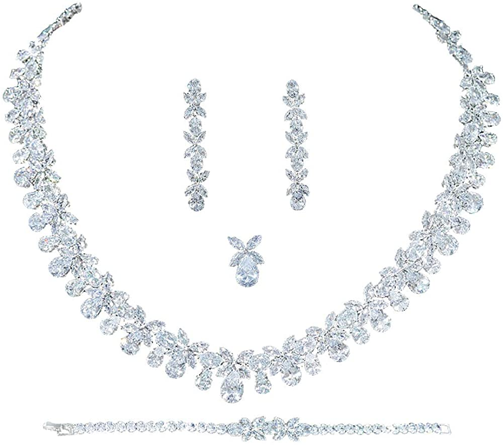 Jorsnovs 4 pcs 5A Full Zircon Dubai Wedding Bridal Jewelry Sets CZ Cubic Zirconia Necklace Bracelet Dangle Earrings and Ring Jewelry Gifts fit with Party Dress