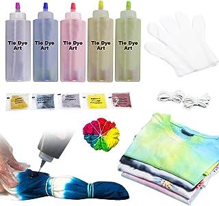 imoli Tie Dye Kit - 5 Colores neón Pinturas Textiles de Tela permanentes, Juego de teñido Anudado de un Solo Paso para niños, Adultos, Bricolaje de Moda(5 Botellas de Tinte y Paquetes de Tinte)