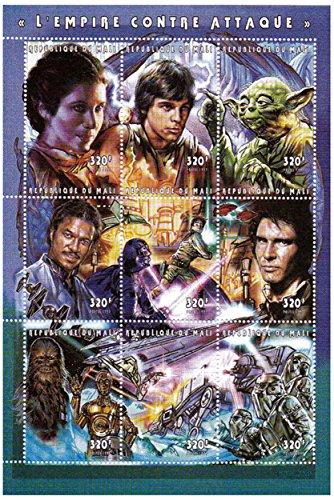 Star Wars Briefmarken - Star Wars Das Imperium schlägt zurück - 9 Stempel. Mint und postBriefMarkenBogen