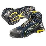 Puma 632250-256-43 Chaussures de sécurité Rio Mid S3 SRC Taille 43, Noir/Gris/Bleu/Blanc