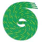 Swissly Lacci rotondi per scarpe da lavoro e scarpe da trekking in 100% poliestere, colore: verde/giallo, lunghezza: 100 cm