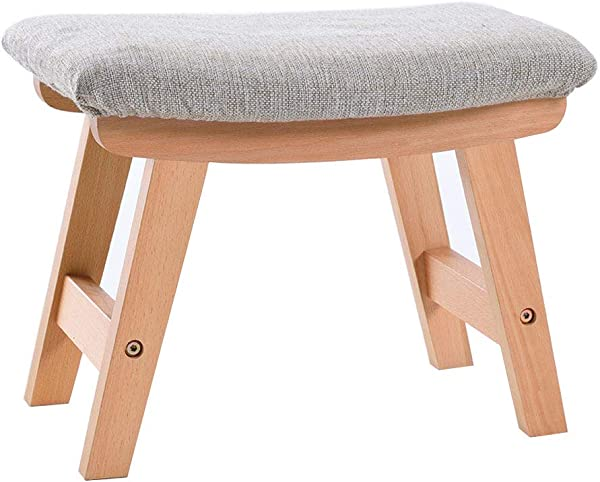 Household Change Shoes Stool Ottoman Creative Low Stool Solid Wood Foot Stool 4 Legs And Removable Linen Cover 39cmx25cmx29cm Max Load 150KG Wood Color