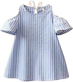 7e2a67d9490f5 Angelof Robes éPaules Dénudées Bébé Filles Rayé Bleu Jupe Bambin Enfants  Courtes Manches Ete Habits Ample