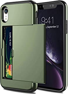 SAMONPOW Case for iPhone XR Hybrid iPhone XR Wallet Case Card Slot Holder Heavy Duty Protection Anti Scratch Dual Layer Hard PC Soft Rubber Bumper Cover for iPhone XR 6.1 inch Olive Green