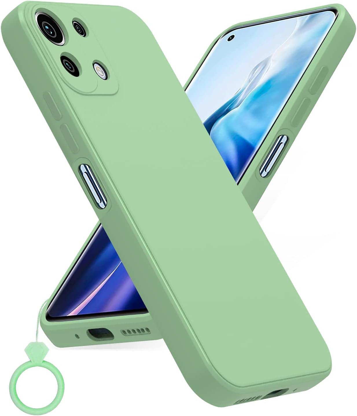 PULEN Funda para Xiaomi Mi 11 Lite 4G / 5G, Silicona Carcasa con Uno Silicona Dedo Anillo, Anti-Choques, Anti- Arañazos,Slim Delgada,Tacto Suave - MatchaGreen