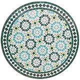 Casa Moro Mediterraner Gartentisch marokkanischer Mosaiktisch Ø 80cm Ankabut Türkis rund mit Gestell H 73cm | Kunsthandwerk aus Marrakesch | Dekorativer Balkontisch Bistrotisch Beistelltisch | MT2232