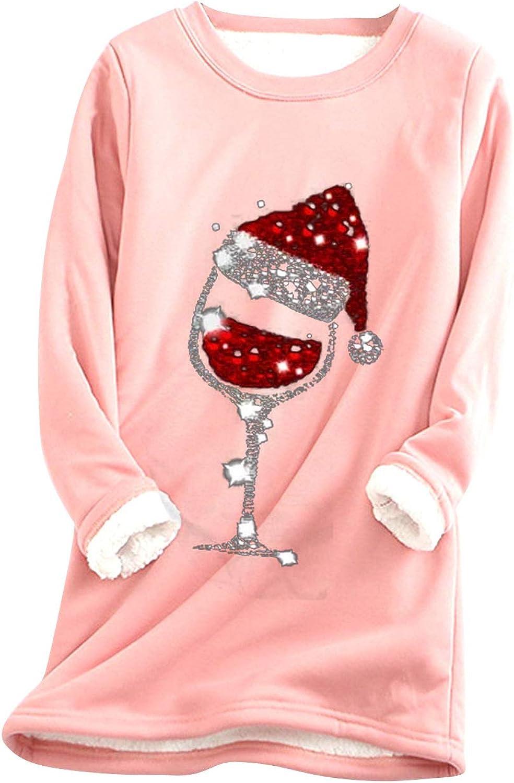 Thatso Women Thermal Underwear Winter Fleece Lined Undershirts Christmas Wine Graphics Long Johns T Shirts Tops Loungewear (Pink, 3XL)